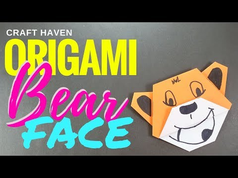 Fun and Easy Origami Bear Face - Origami Tutorial for the Ultimate Beginner - Paper Bear Face