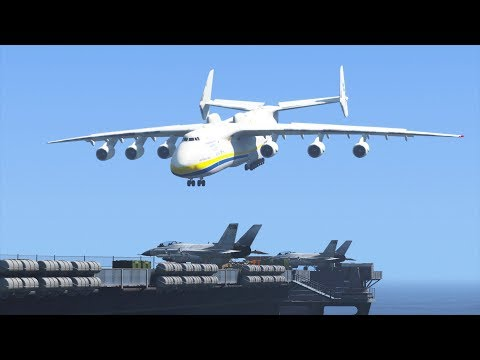 GTA 5 - Landing WORLD'S LARGEST PLANE on Aircraft Carrier! (Antonov An-225)