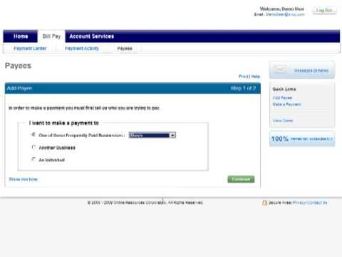 Add a Payee to Online Billpay
