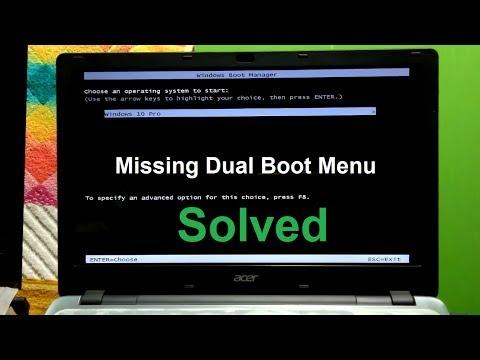 How to Fix Missing Dual Boot menu Windows 10/8/7