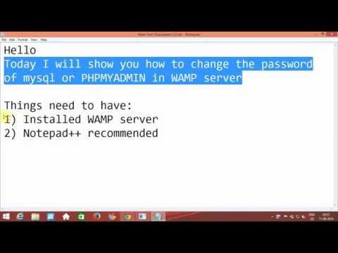 To change password of MYSQL or PHPMYADMIN in WAMP server