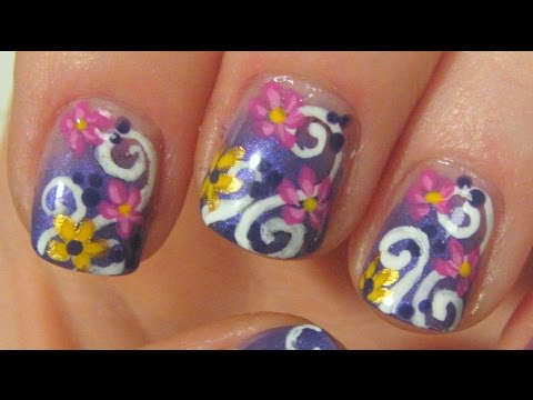 Summery Flowers and Swirls Design in Gradient Violet Pink and Yellow Nail Art Tutorial