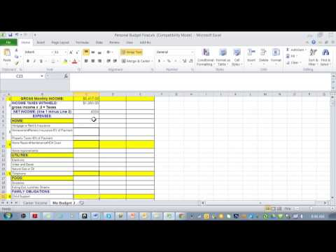 How to create a personal budget in excel