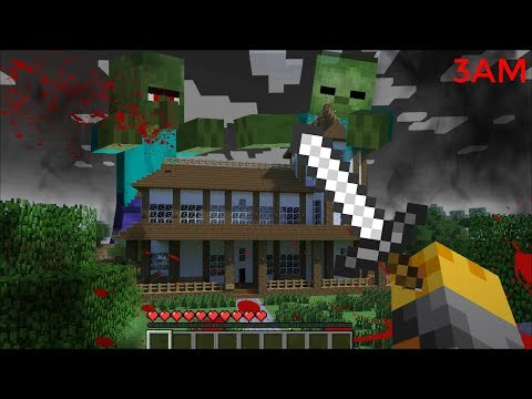 SCARY ZOMBIE APPEAR AT 3AM IN MY HOUSE IN MINECRAFT !! Minecraft Mods