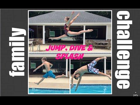 Family Jump, Dive & Splash Challenge   Flippin' Katie