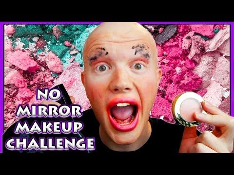 NO MIRROR MAKEUP CHALLENGE - No Clue What Im Doing !!!