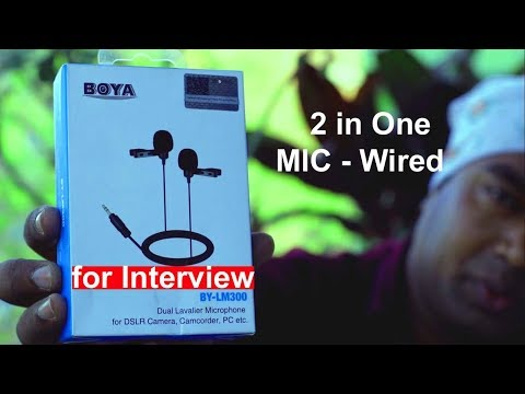 Boya Dual Mic System Wired - For Interviews-  2 in 1 Microphone for DSLR, Smrtphone & PC