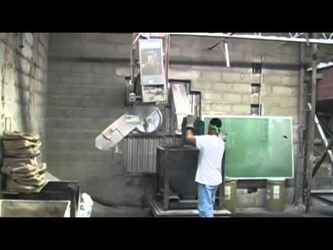 Mixing Sand Batches for making glass at KOG Glass Studios in Kokomo