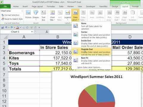 Office 2010 Class #33: Excel Charts: Column, Bar, Pie, Line, X-Y Scatter, Sparklines Formatting