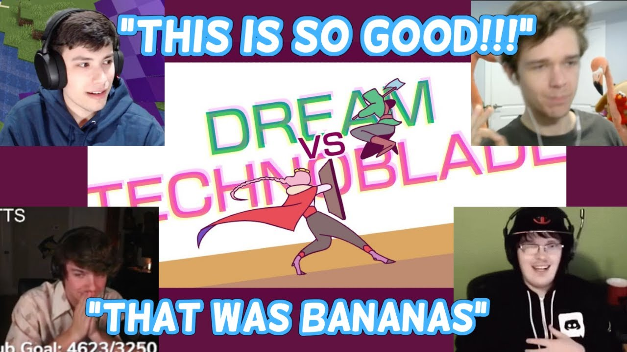 Streamers React to Dream VS Technoblade Animation by SAD-IST (George, Eret, BadBoyHalo, Karl Jacobs)