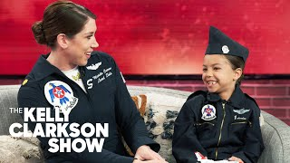 7-Year-Old Aspiring Fighter Pilot Freaks Out Meeting Her Idol