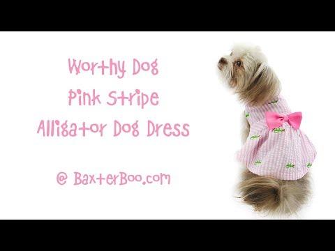 Worthy Dog Pink Stripe Alligator Dog Dress