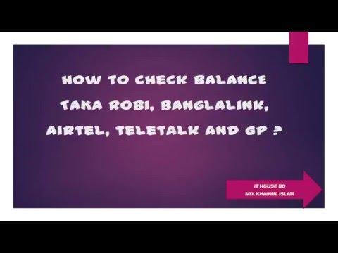 How to check BALANCE TAKA Robi, banglalink, gp, teletalk