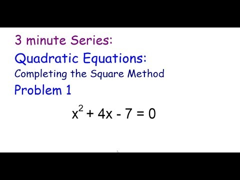 3 Minute Series: Quadratic quations