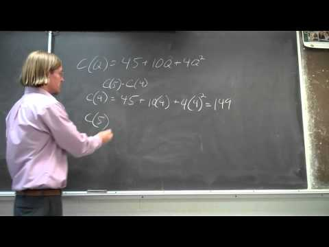 Quadratic Cost Function - Solving for Marginal Cost - Sample Problem without Calculus