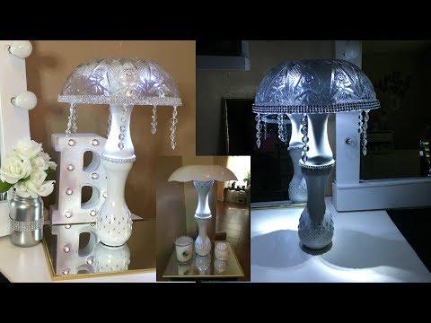 Dollar Tree DIY Glam Table Lamp With A Bonus of 2 Lamp Shades