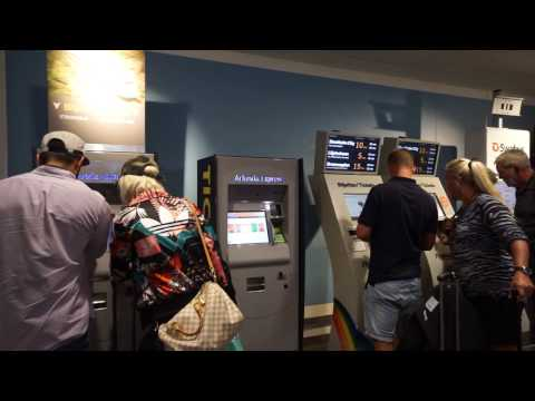 Sweden, Arlanda Airport, Terminal 5, walking from Gate 5 to bus ticket vending machines