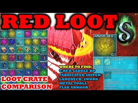 MEGA RED LOOT CRATE COMPARISON - HOW TO FIND RARE ITEMS - E8 - ARK SUPER BOSS T-REX SADDLE BP