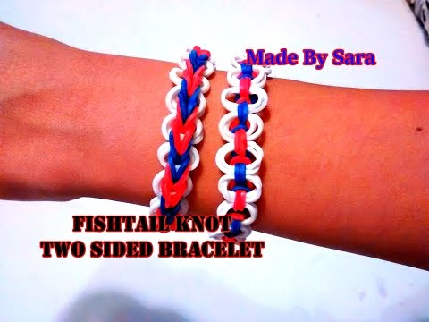 Fishtail Knot: Two sided loom band bracelet.