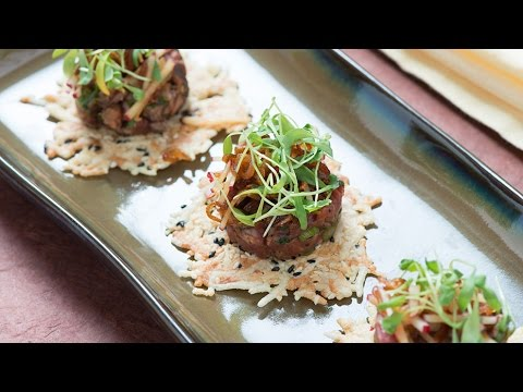 Tataki: Japanese-style Seared Beef Carpaccio on a Black Sesame Montasio Frico