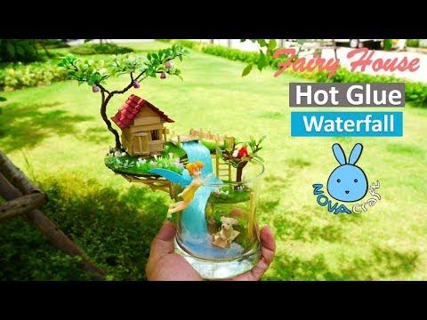 Hot Glue Waterfall Tutorial Tinkerbell Faily House Miniature | บ้านนางฟ้าในถ้วยแก้ว ศิลปะปืนกาว