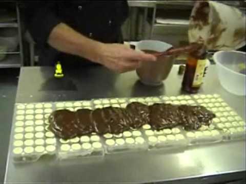 Simon Dunn Chocolatier shows how to make brandy liqueur chocolates...
