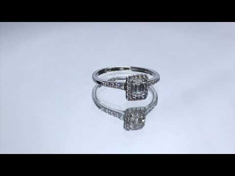 18ct White Gold Emerald Cut Diamond Engagement Ring 0180092