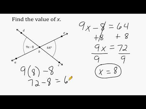 Solving Equations Using Vertical Angles