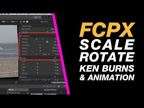 Final Cut Pro X - Scaling, Rotating & Animating Clips Using Scale & The Ken Burns Effect