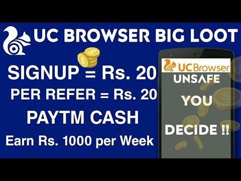 UC Browser New Offer 2018 : BEWARE !! • Free Paytm Cash • Signup Rs.20 •  Per Refer Rs. 20 • V Talk