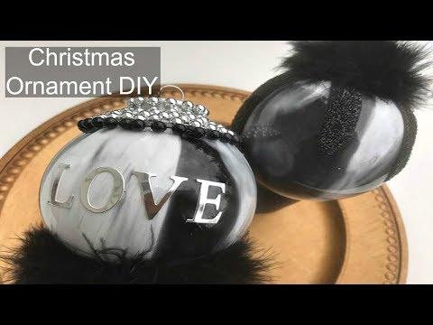 DIY | Black and White Christmas Decorations | Fur Glam Christmas Ornaments