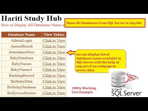 Display All Databases Available in SQL Server with Asp.Net C#   Hindi   Free Online Learning Classes