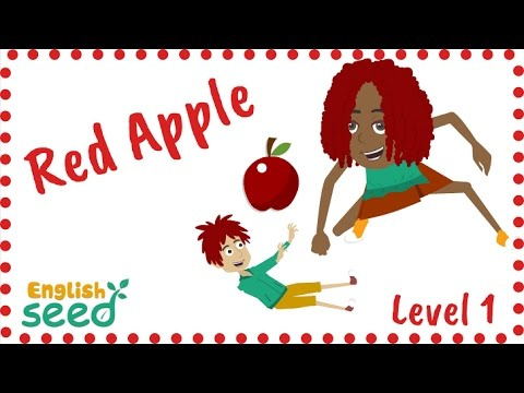 Red Apple 🍎  color song for kids with flashcards - English Seed - Level 1