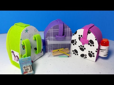 How to Make a Doll Backpack PLUS Easy Working Pencils & Pencil Case : LPS Doll DIY