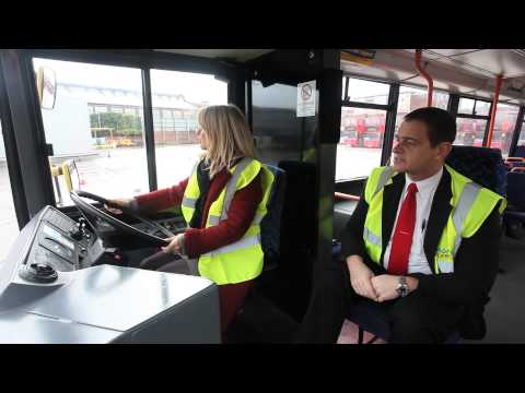 National Express  West Midlands : MP Esther McVey driving a bus and opening the Skills Academy