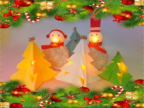Make Origami Christmas tree and tealight snowman for Christmas Decoration