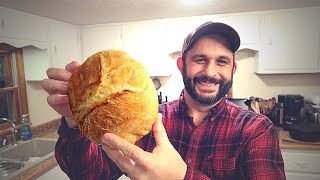 The EASIEST Bread EVER!  Crunchy, No Knead Recipe.