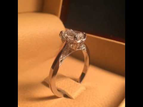Vintage Style Emerald Cut Engagement Ring