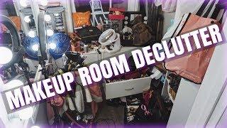 DECLUTTER & ORGANIZING MY MAKEUP ROOM!!!