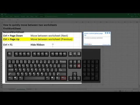 How to move between worksheets and hide the ribbon in Excel 2016 using keyboard shortcuts @excel