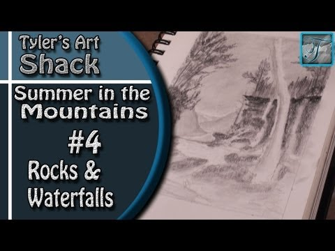 How to Draw - Summer in the Mountains Series Part Four - How to Draw Rocks and a Waterfall