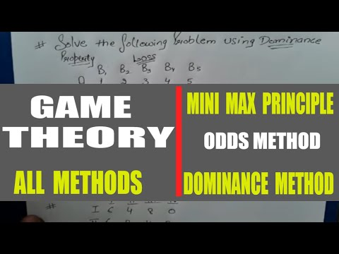 Game Theory in Operation research USING mini max principle,odds method,dominance method in HINDI