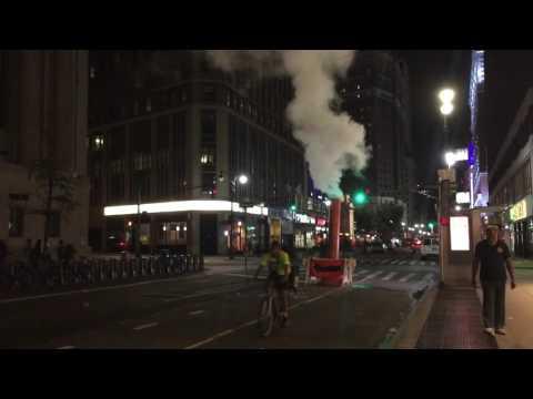 Huge steam leak at Broadway street in New York City