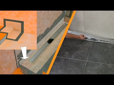 Tiling a shower with linear drainage Wall installation