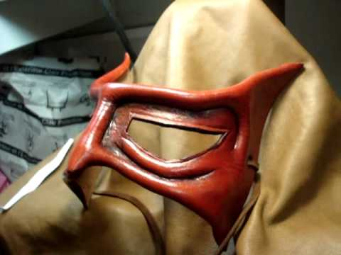 red demon dragon leather mask