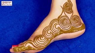 A new Easy Simple Floral Mehndi Design For Feet | Step by Step Designer Henna Mehendi for Legs #80