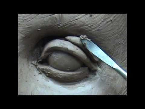 Sculpting open eyes in clay. Sculpting tutorial.