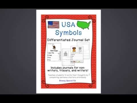 Product Preview: American Symbols Differentiated Journal Writing for Special Education/Autism
