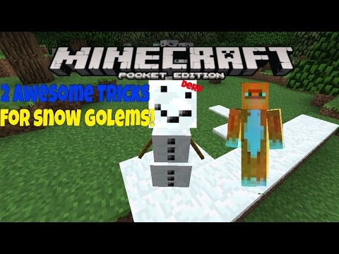 Minecraft P.E. - Two Awesome Tricks with Snow Golems (0.12.1)