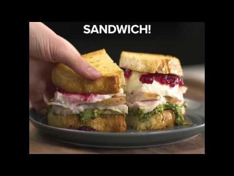 Thanksgiving Leftovers Turkey Melt with Cranberry Pesto Sauce